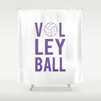 volleyball Shower Curtains featuring Volleyball (lavendar) by raineon