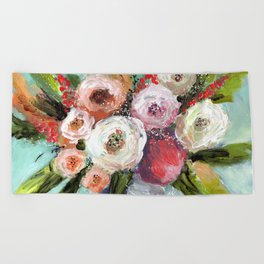 Peach and White Roses Beach Towel