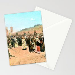 Religious Procession in Kursk Gubernia - Ilya Yefimovich Repin Stationery Cards