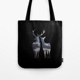 Forest deer family black pattern Tote Bag