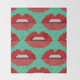 Lips pattern - sea Throw Blanket