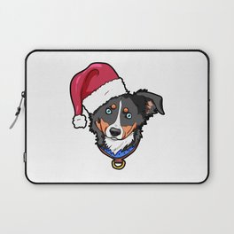 Miniature American Shepherd Dog Christmas Hat Present Laptop Sleeve
