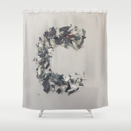 Letter C in Paint Shower Curtain