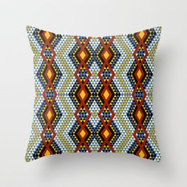Aztec rhombus triangles red yellow blue Throw Pillow