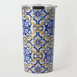 Close-up of blue, white and yellow ceramic wall tiles in Tavira, Portugal Travel Mug