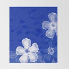 Retro 70s Flowers Sapphire Blue Throw Blanket