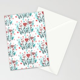 Watercolor whimsical flowers - coral and green Stationery Cards