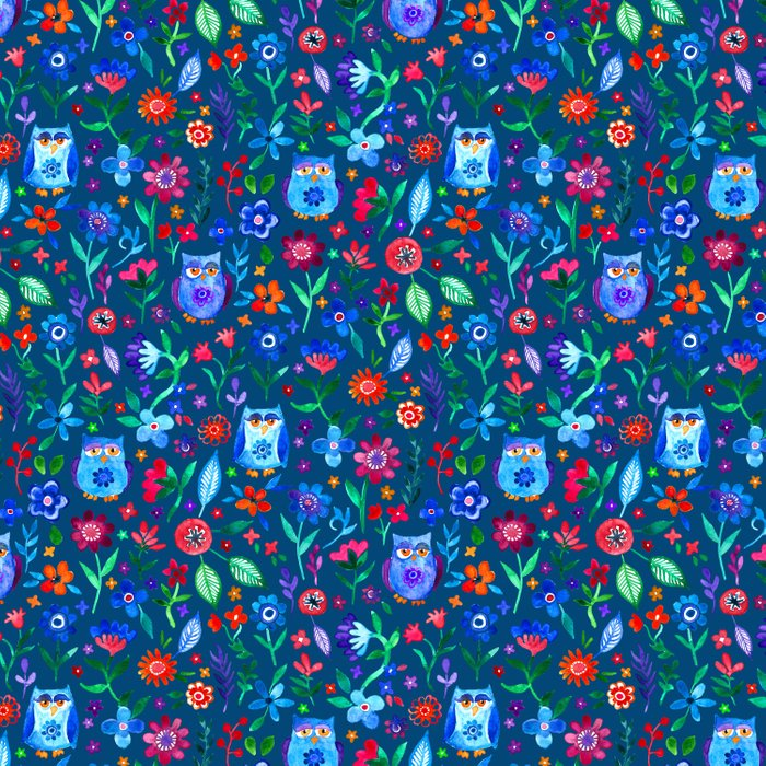 Little Owls and Flowers on deep teal blue Comforters