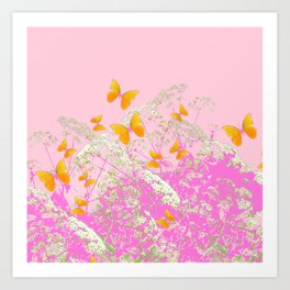 GOLDEN BUTTERFLIES IN PINK LACE GARDEN Art Print