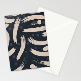 Paint Strokes Pattern - Navy, Blueberry, and Light Sand Colours Stationery Cards
