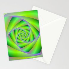 Green and Lilac Spiral Stationery Cards