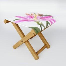Pink Lily Illustration Folding Stool