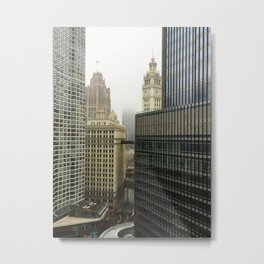 Chicago Buildings in Fog Color Photo Metal Print