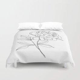 Botanical illustration line drawing - Peony Duvet Cover