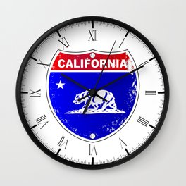California Interstate Sign Wall Clock