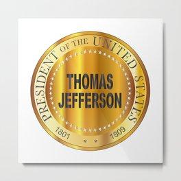 Thomas Jefferson Gold Metal Stamp Metal Print
