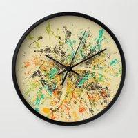 london map Wall Clocks featuring LONDON MAP by Nicksman