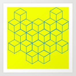 Cubic Yellow and Blue Art Print