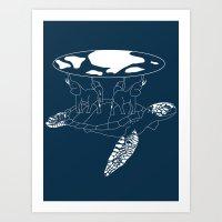 discworld Art Prints featuring Discworld by Rebecca McGoran
