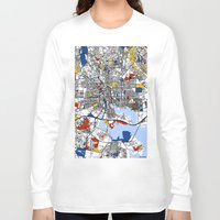 baltimore Long Sleeve T-shirts featuring Baltimore Mondrian by Mondrian Maps