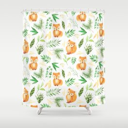 Hand painted cute brown fox watercolor green floral leaves Shower Curtain