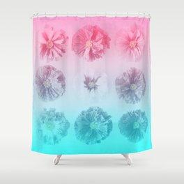 Blue Gradient Flower Grid Shower Curtain