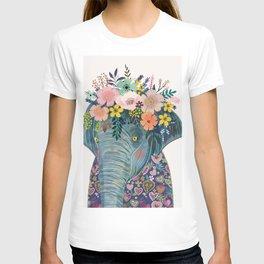 87e281a8 Elephant with flowers on head T-shirt
