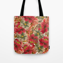 Elegant red coral green gold watercolor floral Tote Bag