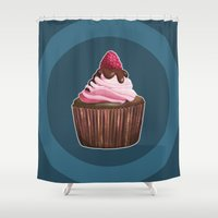 cupcake Shower Curtains featuring Cupcake by Kaweii