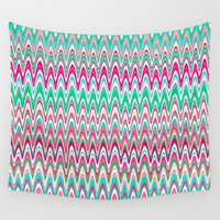 preppy Wall Tapestries featuring Making Waves Pink and Preppy by Shawn King