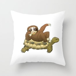 Cute & Funny Sloth Riding Turtle Adorable Animals Throw Pillow