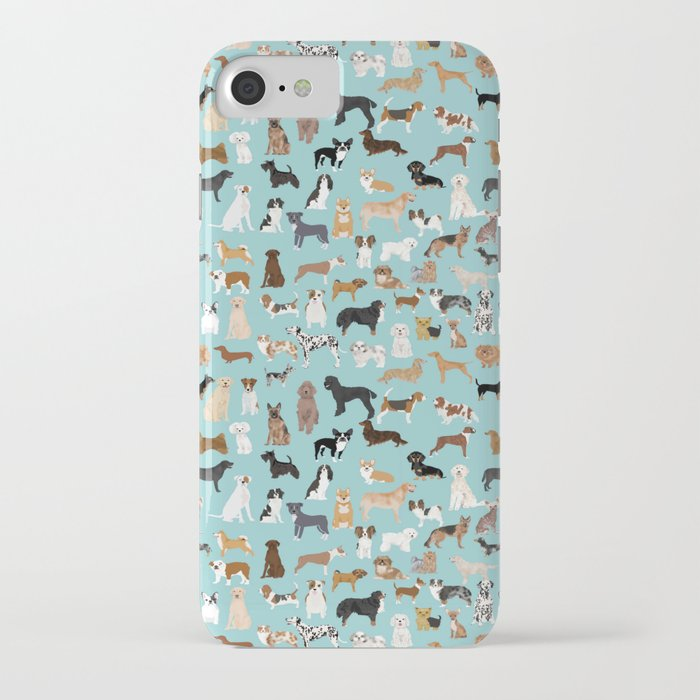 Dogs pattern print must have gifts for dog person mint dog breeds iPhone Case