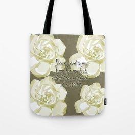 Scripture Gray,White Rose Tote Bag