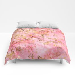 Raspberry Kiss - Pink Gold Marble Comforters