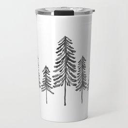 Pine Trees – Black Ink Travel Mug