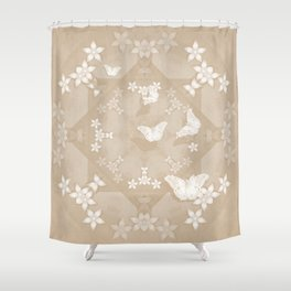 Dreamy butterflies and mandala in iced coffee Shower Curtain