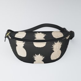 Gold Pineapples Pattern Black Fanny Pack