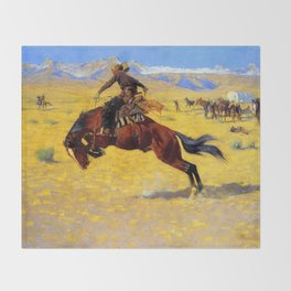 "Frederic Remington Western Art ""A Cold Morning"" Throw Blanket"