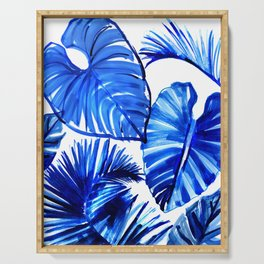 Bright Blue Jungle Leaves Serving Tray