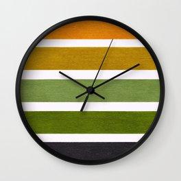 Olive Green & Hazel Brown Geometric Pattern Wall Clock