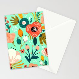 Mid-Century Modern Design in Minty Green and Orange Stationery Cards