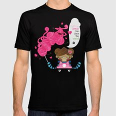 Cotton Candy can save the world!!! Black MEDIUM Mens Fitted Tee