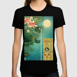 Chinese Lotus Full Moon Garden :: Fine Art Collage T-shirt