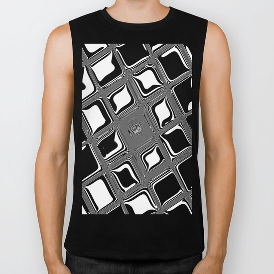 Black and white abstract design with fancy squared patterns on grey Biker Tank