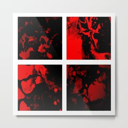 Victory - red and black abstract square art Metal Print