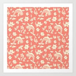 Coral Carps Pattern Art Print