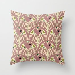 Heart Deco in Mauve Throw Pillow