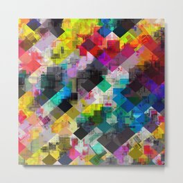 psychedelic square pixel pattern abstract background in red pink blue yellow green Metal Print