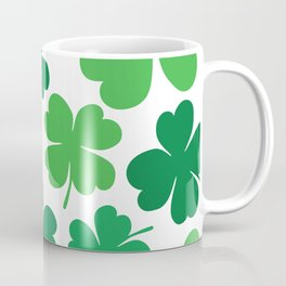 Lucky 4 Leaf Clover Pattern (green/white) Coffee Mug