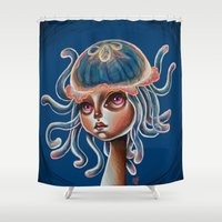 surrealism Shower Curtains featuring Jellyfish Head pop Surrealism Illustration by Kristin Frenzel